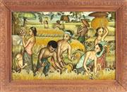 Sale 8976H - Lot 93 - Anji Selin Sundari Sukadiah, Indonesia, harvest scene, Pigment on fabric, SLL in carved wood frame. 38x58cm