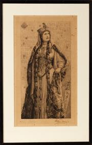 Sale 9048A - Lot 55 - A signed print of Ellen Terry dressed as Lady Macbeth, by Henry Batley, impression size 40cm x 23cm Henry William Batley (1846-1932)