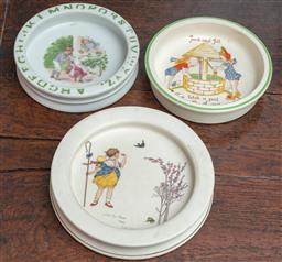 Sale 9120H - Lot 262 - A Royal Doulton rimmed little Bo Peep bowl together with a Burslem example and another, largest diameter 20cm