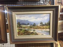Sale 9130 - Lot 2071 - John Hingerty, Out from Kurri, 1985, oil on board, frame: 49 x 64 cm, signed and dated lower right -