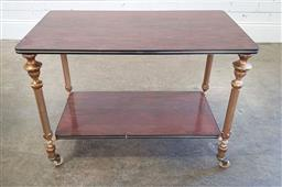 Sale 9188 - Lot 1536 - Mahogany 2 tier side table with brass supports (h:60 x w:83 x d:45cm)