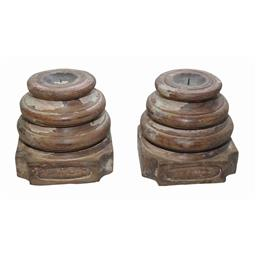 Sale 9216S - Lot 81 - A pair of carved timber candle stands, Height 20cm x Width 20cm x Depth 20cm