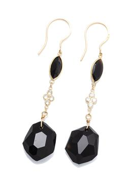 Sale 9253J - Lot 378 - A PAIR OF 18CT GOLD ONYX AND DIAMOND EARRINGS; articulated line drops each a faceted free form and a marquise cut onyx and 4 round b...