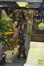 Sale 8227 - Lot 1041 - Bronze Style Lady Figure Floor Lamp with Glass Shade