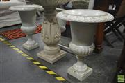 Sale 8262 - Lot 1027 - Pair of White Cast Iron Urns