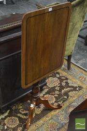 Sale 8345 - Lot 1046 - Georgian Style Mahogany Wine Table, the tilt-top with string inlay, on turned pedestal & outswept feet.