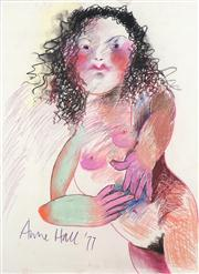 Sale 8466A - Lot 5049 - Anne Hall (1946 - ) (2 works) - Rosey Cheeks, 1977; Nude Study 76 x 56cm, each (sheet size)