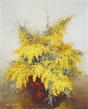 Sale 8519 - Lot 518 - Muriel Elliot (20th Century) - Wattle and Red Vase 55.5 x 44.5cm