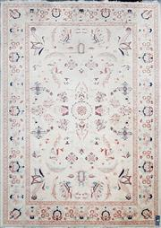Sale 8744 - Lot 1045 - Persian Floor Rug in Cream and Red