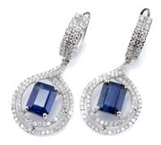 Sale 8928 - Lot 368 - A PAIR OF 18CT WHITE GOLD KYANITE AND DIAMOND DROP EARRINGS; each a hoop earring with fronts set with 2 rows of round brilliant cut...
