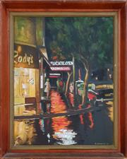 Sale 8973 - Lot 2001 - R. Hardacre Wet Knight: Kings Cross 1956 oil on canvas, 54 x 46 cm (frame), signed and dated lower right
