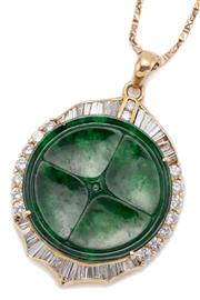 Sale 9066A - Lot 54 - A JADE AND DIAMOND PENDANT NECKLACE; pendant centring a 25mm round carved green jade (omphacite) disc surrounded by round brilliant...
