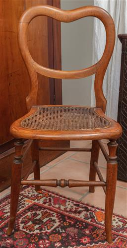 Sale 9120H - Lot 263 - A timber childrens kidney back chair with rattan seat, Height of back 80.5cm