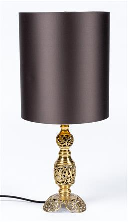 Sale 9130S - Lot 50 - A pierced metal table lamp with Grey & Gold shade by Rakumba. Total Height 59cm