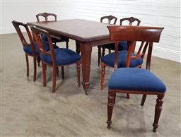 Sale 9188 - Lot 1384 - Edwardian extension dining table with 7 chairs (h:72 x w:150 X d:105cm)