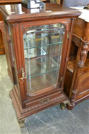 Sale 8093 - Lot 1772 - Late Victorian Shop Display Cabinet with Etched Glass Door Raised On Brass Claw Feet (key in office)