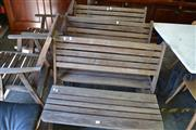 Sale 8115 - Lot 1233 - 5 Piece Timber Setting incl. 3 Benches & Pair of Armchairs