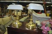 Sale 8431 - Lot 1048 - A pair of bankers lamps with milk glass shades