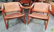 Sale 8451 - Lot 1002 - Pair of Radstad & Relling Bambi Armchairs in Oak