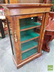 Sale 8485 - Lot 1001 - Victorian Inlaid Walnut & Marquetry Pier Cabinet, with gilt metal mounts, glass panel door & sides (Key In Office)