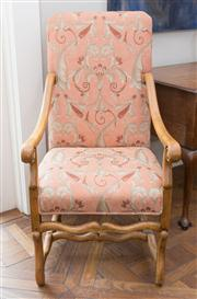 Sale 8470H - Lot 150 - A pair of walnut armchairs upholstered in contemporary peach fabric with stretcher base and scrolled arms