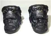 Sale 8600A - Lot 7 - Vintage pair of Barsony Aboriginal bookends, marked to base Barsony, H 12cm.
