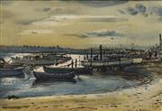 Sale 8665A - Lot 5175 - William E Tristram (1870 - 1938) - Sydney Airport from Wolli Creek 23 x 34cm
