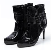Sale 9027F - Lot 10 - A pair of Bakers patent leather stiletto ankle boots size 7.5