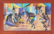 Sale 8973 - Lot 2043 - Digna, African Village Dance oil on canvas board, 56.5 x 95.5 cm (frame: 109 x 71 x 3 cm), signed lower right