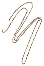 Sale 9074 - Lot 314 - AN ANTIQUE 9CT GOLD GUARD CHAIN; byzantine chain  (broken) to a bolt ring clasp, length 96cm, wt. 12.21g.