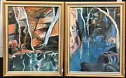 Sale 9072 - Lot 2022 - Joanna Ransom (two works)  Waterfalls Scenes, oil on canvas, frame : 60 x 48 cm each, signed verso