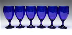 Sale 9098 - Lot 103 - A set of six large blue glass drinking goblets H: 19cm