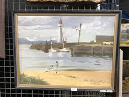Sale 9139 - Lot 2007 - Lincoln B. Hamilton Beach Scene with Figures & Lighthouse, oil on board frame: 33 x 43 cm, signed lower right