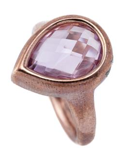 Sale 9209J - Lot 301 - A SILVER ROSE GILT AMETHYST RING; rub set with a 14 x 10mm pear shape chequerboard cut amethyst, width at top  17mm, size N, wt. 6.62g.