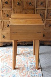 Sale 7379B - Lot 46 - Maple Sewing box with hinged fold out top on tapered legs. 40 x 41 x 71cm