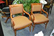 Sale 7987A - Lot 1155 - Pair of Scrolled Back Armchairs in Striped Fabric