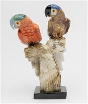 Sale 8586A - Lot 3 - A gem stone carved sculpture of two parrots perched on a branch (possible old repairs), H 21cm