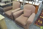 Sale 8302 - Lot 1030 - Pair of Brown Fabric Armchairs