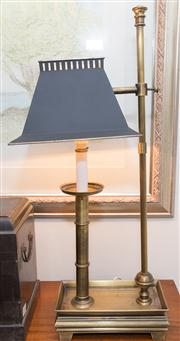 Sale 8308A - Lot 111 - An adjustable reading lamp with brushed brass frame and black metal shade, H 60cm