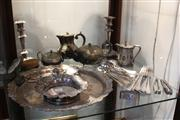 Sale 8379 - Lot 133 - Silver Plated Pair of Candlesticks with Other Plated Wares incl. Pineapple Finial Coffee Pot