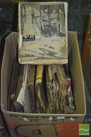 Sale 8900 - Lot 50 - 2 Boxes of Ephemera incl Scrap books, Newspapers, Magazines, etc
