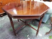 Sale 8559 - Lot 1022 - Late Victorian Blackwood Octagonal Occasional Table, on turned legs with stretcher