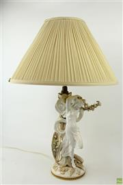 Sale 8586 - Lot 248 - Victorian Copelands Porcelain Figure Mounted as Table Lamp, of Psyche as a scantily clad young woman, with applied fern leaves & lil...