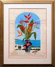 Sale 8604 - Lot 2039 - Anna Garland - Heliconias & Redfinch Gouache ( 73.5 x 54.5 ) Signed Lower Right