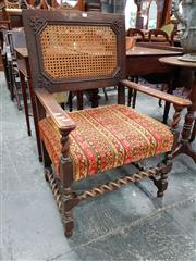 Sale 8728 - Lot 1021 - Oak Armchair, with caned back, striped upholstered seat & barley twist supports