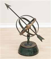 Sale 8902H - Lot 27 - A desk top armillary sphere on green marble base, Height 23cm
