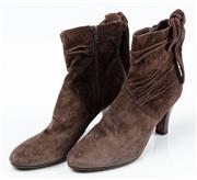 Sale 9027F - Lot 81 - A pair of First chocolate suede mid heel ankle boots, size 38