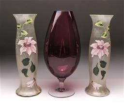 Sale 9098 - Lot 355 - Pair of floral themed glass vases (h:32cm) together with a brandy balloon footed vase (h:33.5cm)
