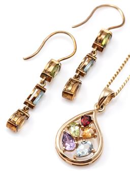 Sale 9124 - Lot 308 - 9CT GOLD GEMSET EARRINGS AND PENDANT SUITE; articulated line drop earrings each set with a pear cut peridot and citrine and navette...