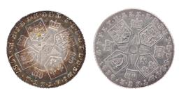 Sale 9130E - Lot 28 - Two George III sterling silver sixpences dated 1787, slightly worn, weight 5.96g
